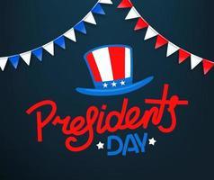 cartão do dia dos presidentes. logotipo do vetor