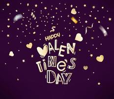 confete dourado e corações sobre fundo vermelho. feliz dia dos namorados vetor