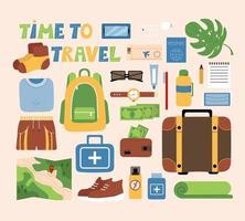 conjunto de coisas turísticas, itens de viagem, conjunto masculino, mala de objetos vetoriais, mochila, kit de primeiros socorros, dinheiro na carteira, passaporte, passagem de avião. vetor