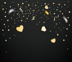 confete dourado e corações em fundo escuro vetor