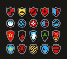conjunto de escudos vetoriais vitorianos vintage vetor