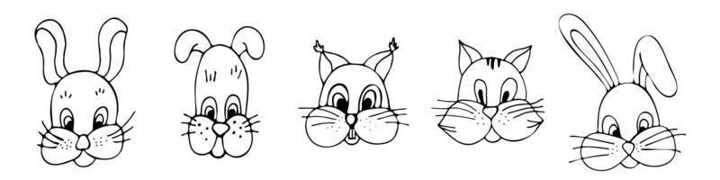 animais fofos coelho gato cão esquilo conjunto, coleção de ícones lineares desenhados à mão, vetor em um fundo branco.