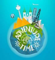 conceito de tempo de aventura. ilustração vetorial de viagens com diferentes locais e veículos famosos vetor