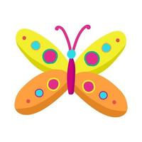 borboleta colorida brilhante em estilo cartoon, objeto de vetor em um fundo branco, inseto com asas. impressão para roupas de bebê, adesivo