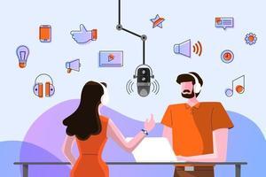 canal de podcast de design de conceito de ilustrações vetoriais. vetor