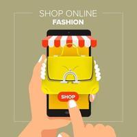 ilustrações loja online de loja online de conceito de design plano. mão segure compras de moda de venda móvel. vetor