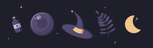 bola de cristal, chapéu de bruxa, veneno, ilustrações vetoriais de lua. conjunto de coisas místicas estilo simples