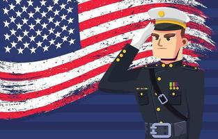 soldado saudação no dia do memorial vetor
