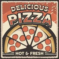 poster retro vintage com placa de pizza vetor