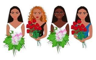 conjunto de belas garotas com flores nas mãos, mulheres de diferentes aparências e nacionalidades com lindos buquês, noivas, estilo simples de vetor. vetor