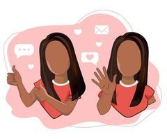 uma garota com os polegares para cima e uma garota acenando com a mão, cumprimentando ou dizendo adeus. personagens femininas dos desenhos animados com gestos de boas-vindas e polegares para cima em ilustração vetorial. vetor