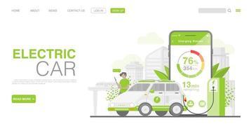 carro ev ou carro elétrico na estação de carregamento. ilustração do conceito de ambiente verde. página de destino em estilo simples. vetor eps 10
