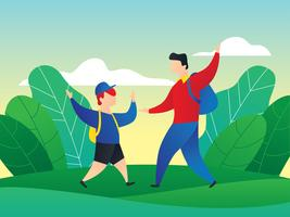 Pai e filho dançando no exterior vetor