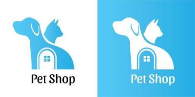 pet shop logotipo simples plano negativo cão e gato desenho ilustração vetorial para negócios, empresa vetor