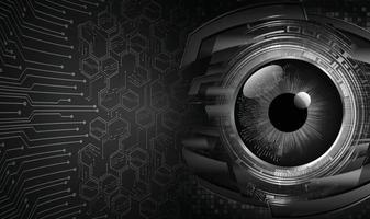 fundo de conceito de tecnologia futura de circuito cibernético olho roxo vetor