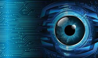 fundo de conceito de tecnologia futura de circuito cibernético de olhos azuis vetor