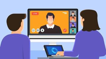 vídeo-conferência do conceito de design plano de ilustrações. formulário de trabalho de reunião online para casa. chamada e vídeo ao vivo. ilustrar o vetor. vetor