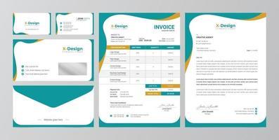 identidade da marca de negócios corporativos, design de papelaria, papel timbrado, cartão de visita, fatura, design de envelope vetor