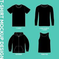 modelos gráficos de maquete de vestuário. camiseta, manga comprida, moletom com capuz e regata vetor