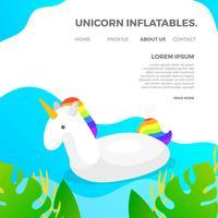 Infláveis de verão plana unicórnio piscina com piscina de gradiente e plantas fundo ilustração vetorial