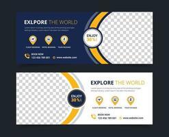 conjunto de modelos de pós-banner para mídia social de viagens