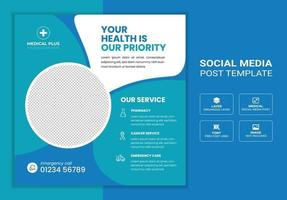 banner de postagem de mídia social médica e de saúde vetor