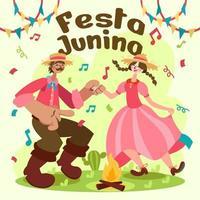 casal dança festa junina evento vetor