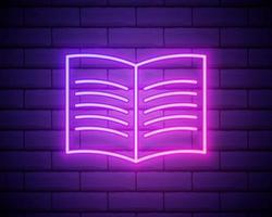 ícone de néon de esboço de livro aberto. linha fina simples, vetor de contorno de ícones de educação para interface do usuário e interface do usuário, site ou aplicativo móvel isolado na parede de tijolos