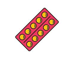 ícone de linha de embalagem de drogas de bolha. sinal de estilo linear para conceito móvel e web design. comprimidos de medicação delinear o ícone do vetor. símbolo, ilustração do logotipo. gráficos vetoriais de pixel perfeito vetor