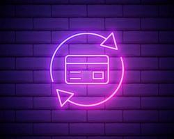 dinheiro de volta vetor de logotipo de néon. sinal de néon de volta em dinheiro, modelo de design, design de tendência moderna, tabuleta de néon de casino, publicidade brilhante à noite, banner de luz, arte de luz ilustração vetorial isolada na parede de tijolos
