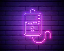ícone de linha de bolsa de sangue. elementos da medicina em ícones de estilo neon. ícone simples para sites, web design, aplicativo para dispositivos móveis, gráficos de informações isolados na parede de tijolos vetor