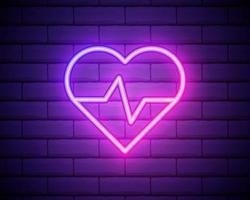 Sinal de conceito de medicina de néon brilhante com gráfico de eletrocardiograma em forma de coração em um fundo de parede de tijolo. letreiro luminoso de publicidade em farmácia ou hospital ilustração vetorial. vetor