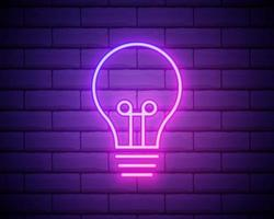 lâmpada de néon brilhante brilhar ícone isolado no fundo da parede de tijolo. símbolo de energia e ideia. lâmpada elétrica. ilustração vetorial
