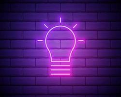 lâmpada de néon brilhante brilhar ícone isolado no fundo da parede de tijolo. símbolo de energia e ideia. lâmpada elétrica. ilustração vetorial vetor