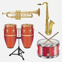 conjunto de modelos de design de vetor de instrumentos musicais de ilustração