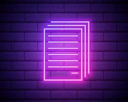 copiar arquivos ícone de néon. linha fina simples, vetor de contorno da web, ícones minimalistas para interface do usuário e interface do usuário, site ou aplicativo móvel isolado na parede de tijolos.