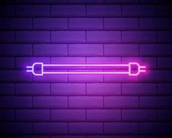 ícone de brilho de lâmpada fluorescente de néon brilhante isolado no fundo da parede de tijolo. símbolo de energia e ideia. lâmpada elétrica. ilustração vetorial