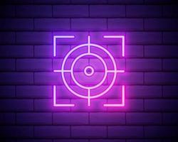 ícone de néon de foco. elementos do conjunto de fotografia. ícone simples para sites, web design, aplicativo para dispositivos móveis, gráficos de informações isolados na parede de tijolos