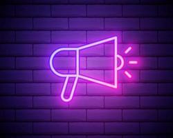 ícone de megafone. elementos da mídia em ícones de estilo neon. ícone simples para sites, web design, aplicativo móvel, informação gráfica isolada na parede de tijolos.