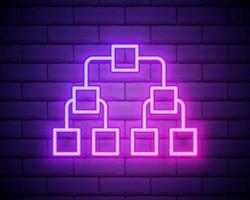 ícone de marketing de referência de néon brilhante isolado no fundo da parede de tijolos. marketing de rede, parceria comercial, estratégia de programa de referência. ilustração vetorial vetor