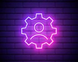 linha de néon brilhante humana com engrenagem dentro do ícone isolado no fundo da parede de tijolo. inteligência artificial. sinal do cérebro pensando. trabalho de símbolo do cérebro. ilustração vetorial