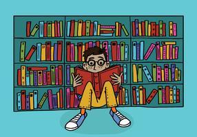 menino lendo em uma biblioteca vetor