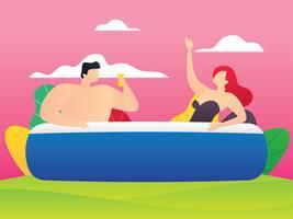 Casal feliz em uma piscina