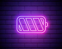 ícone de néon de carga da bateria. sinal brilhante do carregador. símbolo do vetor de carregamento da bateria isolada na parede de tijolos.