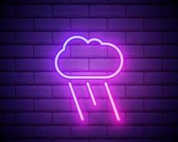 ícone de tempo chuvoso de néon brilhante no fundo da parede de tijolo escuro. símbolo de chuva com nuvem em estilo neon para previsão do tempo no aplicativo móvel. ilustração vetorial.