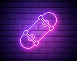 ícone de truque de skate de néon brilhante isolado no fundo da parede de tijolo. esporte radical. equipamento esportivo. ilustração vetorial vetor