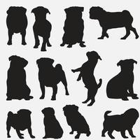 Conjunto de modelos de design de silhuetas de cães pug vetor