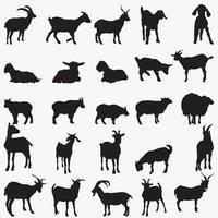 Conjunto de modelos de desenho vetorial de silhuetas de cabra
