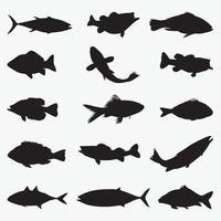 conjunto de modelos de desenho vetorial de silhuetas de peixes vetor