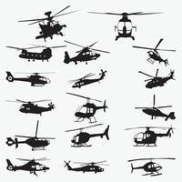 Conjunto de modelos de design de silhueta de helicóptero vetor